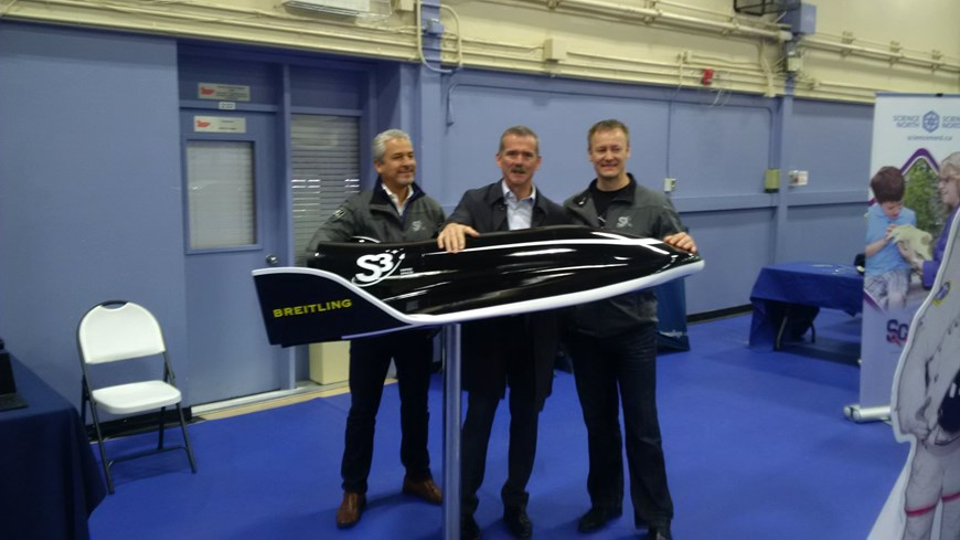 Robert Feierbach and Rolf Brandt of Swiss Space Systems with S3's SOAR Shuttle Model and Col. Chris Hadfield
